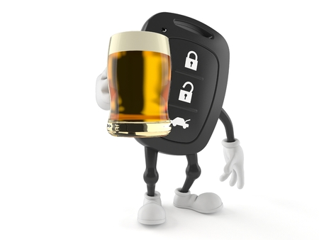 Car remote key character holding beer glass isolated on white background. 3d illustration Banco de Imagens