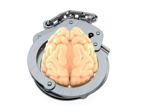 Brain inside handcuffs isolated on white background. 3d illustration
