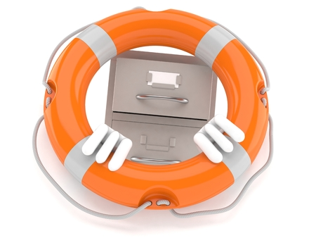 Archive character inside life buoy isolated on white background. 3d illustration Stock Photo