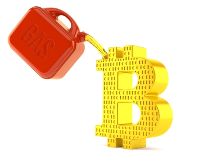 Bitcoin symbol with gasoline can isolated on white background. 3d illustration Stok Fotoğraf