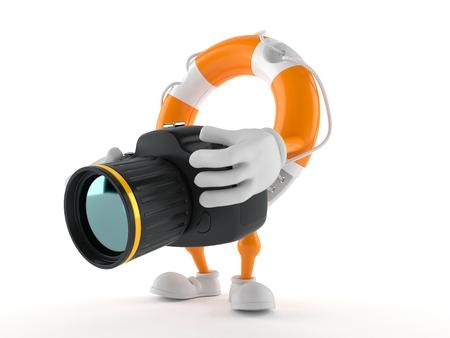 Life buoy character holding camera isolated on white background. 3d illustration