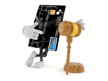 Credit card character with gavel isolated on white background. 3d illustration Stockfoto