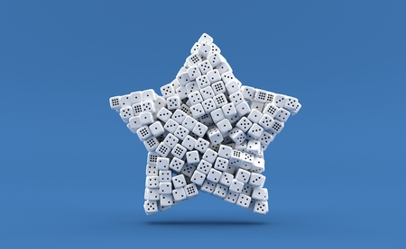 Dice in star shape isolated on blue background. 3d illustration