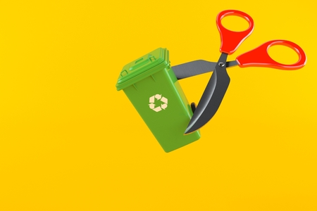 Dustbin with scissors isolated on orange background. 3d illustration