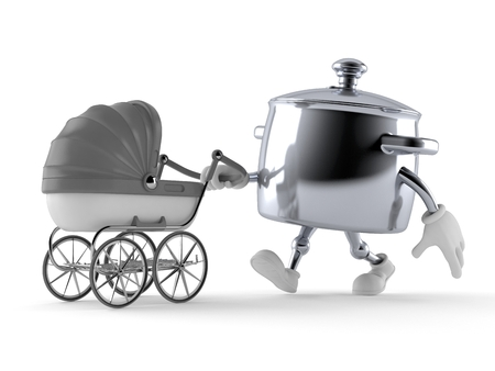 Kitchen pot character with baby stroller isolated on white background. 3d illustration