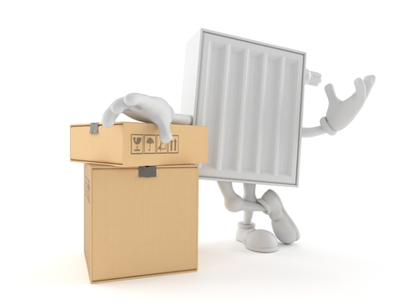 Radiator character with stack of boxes isolated on white background. 3d illustration