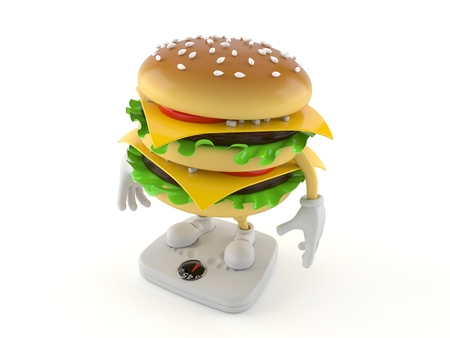 Hamburger character standing on weight scale isolated on white background. 3d illustration Imagens