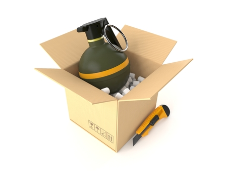 Hand grenade inside package isolated on white background. 3d illustration