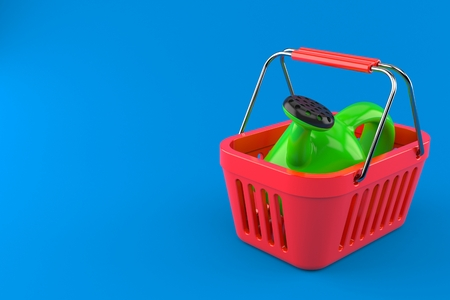 Watering can inside shopping basket isolated on blue background. 3d illustration