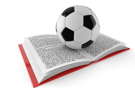 Soccer ball on open book isolated on white background. 3d illustration Фото со стока