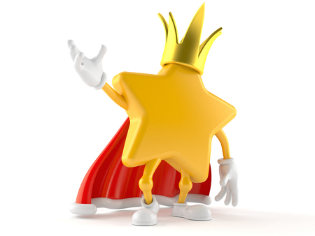 Star character with crown isolated on white background. 3d illustration