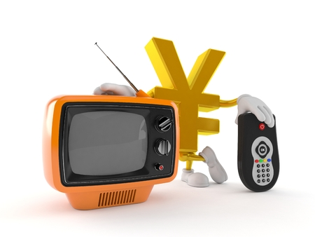 Yen character with tv set and remote isolated on white background. 3d illustration