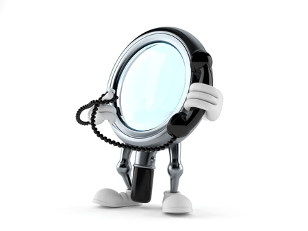 Magnifying glass character holding a telephone handset isolated on white background. 3d illustration