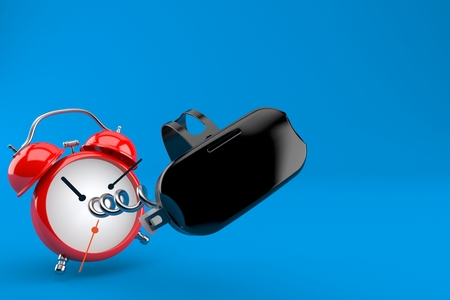 VR headset with alarm clock isolated on blue background. 3d illustration Stock Photo