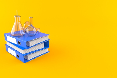 Chemistry flasks with ring binders isolated on orange background. 3d illustration
