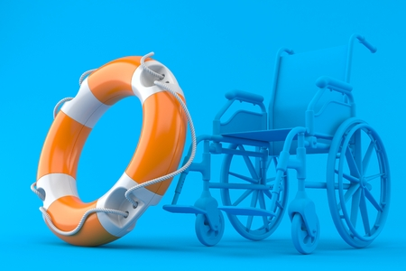 Wheelchair background with life buoy in blue color. 3d illustration