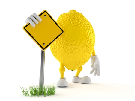 Lemon character with blank road sign isolated on white background. 3d illustration