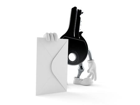 Door key character with envelope isolated on white background. 3d illustration