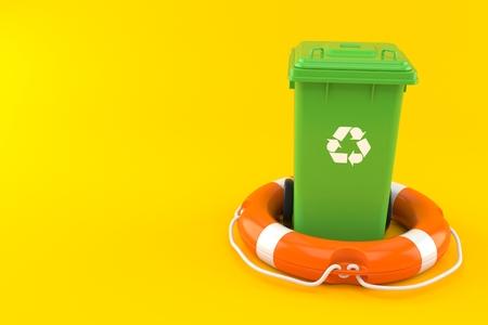 Dustbin with life buoy isolated on orange background. 3d illustration Reklamní fotografie