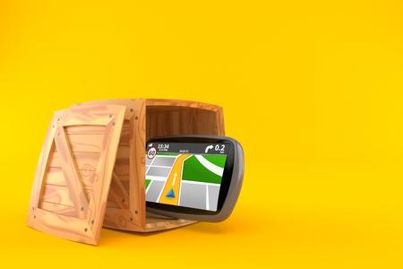 GPS navigation inside cargo crate isolated on orange background. 3d illustration