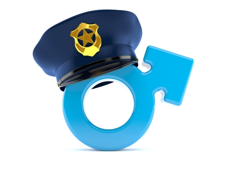 Male gender with police hat isolated on white background. 3d illustration 写真素材