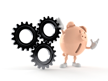 Piggy bank character with gear wheels isolated on white background. 3d illustration