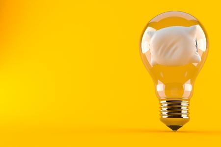 Pillow inside light bulb isolated on orange background. 3d illustration Stock Photo