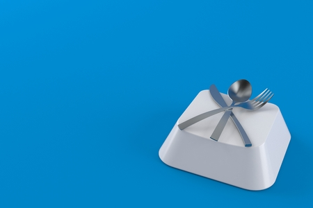 Cutlery on computer key isolated on blue background. 3d illustration