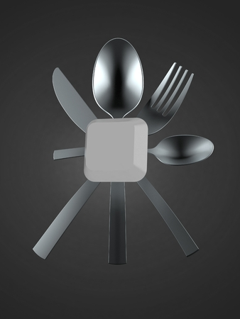 Computer key with cutlery isolated on gray background. 3d illustration
