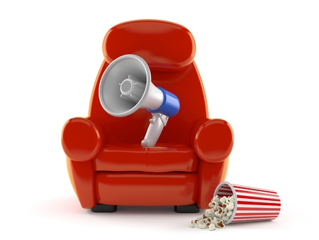 Megaphone with theater armchair and popcorn isolated on white background. 3d illustration Imagens