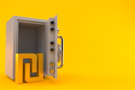 Shekel currency symbol inside safe isolated on orange background. 3d illustration