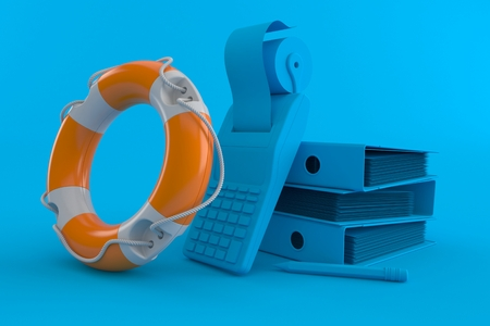 Accountancy background with life buoy in blue color. 3d illustration Imagens