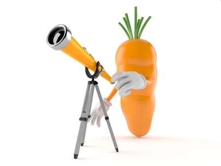 Carrot character looking through a telescope. 3d illustration Stok Fotoğraf - 123141835
