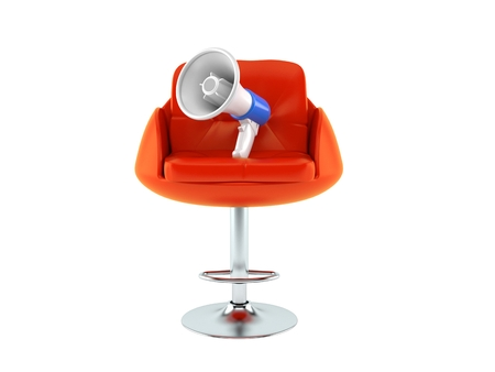 Megaphone on barbershop chair isolated on white background. 3d illustration