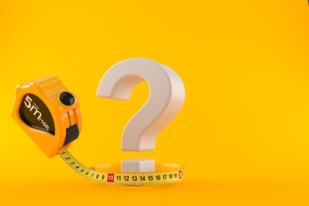 Question mark with measuring tape isolated on orange background. 3d illustration