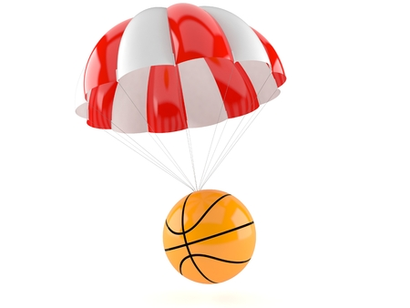 Basketball ball with parachute isolated on white background. 3d illustration