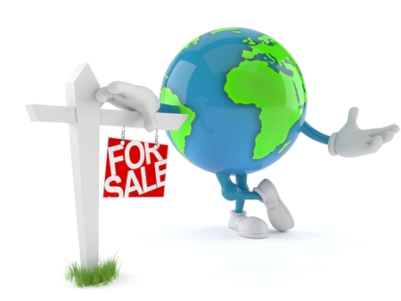 World globe character with real estate sign isolated on white background. 3d illustration