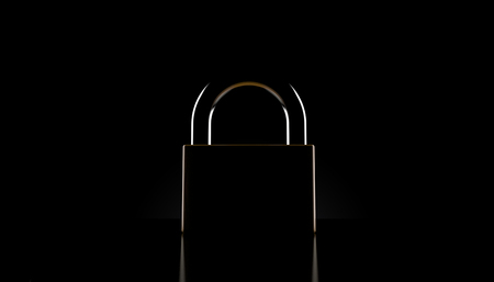 Padlock on black background. 3d illustration Reklamní fotografie