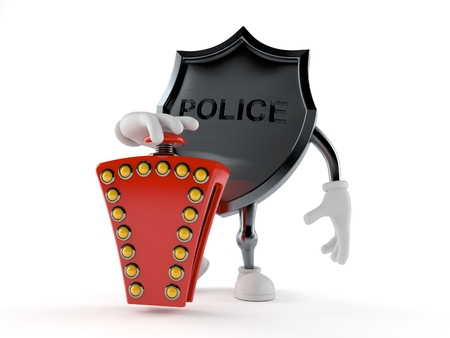 Police badge character with quiz button isolated on white background. 3d illustration