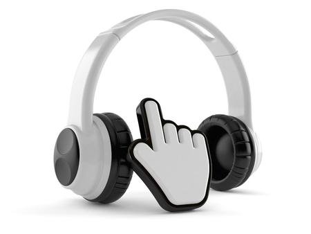 Kopfhörer mit Web-Cursor auf weißem Hintergrund. 3D-Darstellung