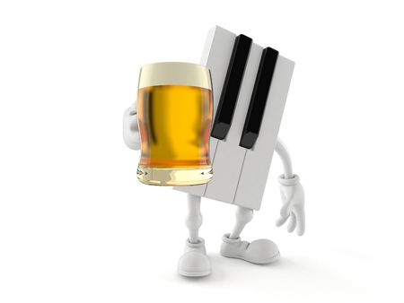 Piano character holding beer glass isolated on white background. 3d illustration