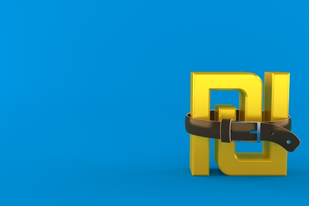 Shekel currency symbol squeezed by belt isolated on blue background. 3d illustration Imagens