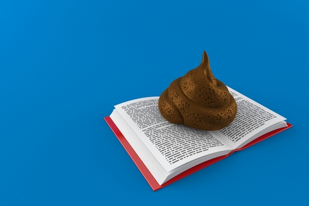 Dung poo on open book isolated on blue background. 3d illustration