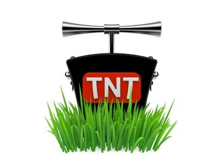 TNT detonator on grass isolated on white background. 3d illustration