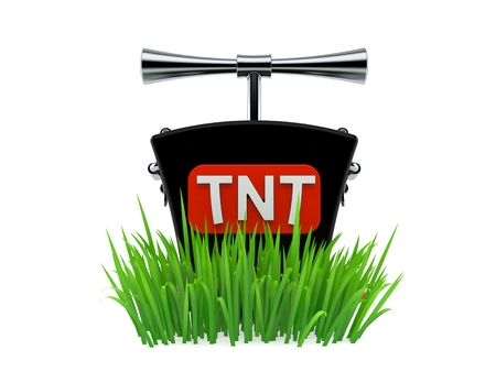 TNT detonator on grass isolated on white background. 3d illustration