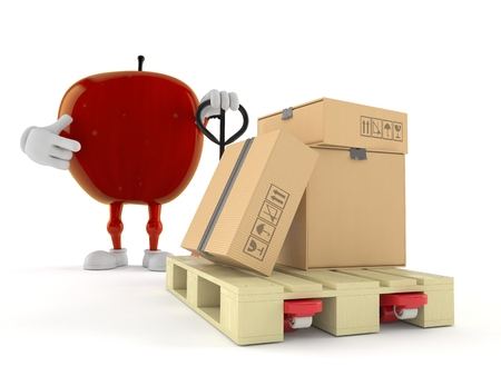 Apple character with hand pallet truck with cardboard boxes isolated on white background. 3d illustration