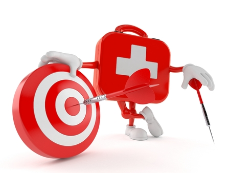 First aid kit character with bull's eye isolated on white background. 3d illustration