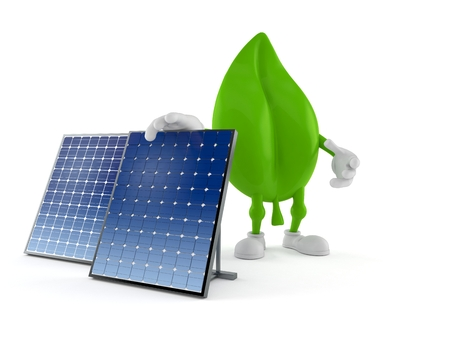 Leaf character with photovoltaic panel isolated on white background. 3d illustration Archivio Fotografico - 123908841