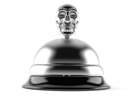 Skull with hotel bell isolated on white background. 3d illustration Stock Photo