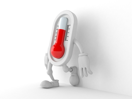 Thermometer character leaning on wall on white background. 3d illustration Stock Photo